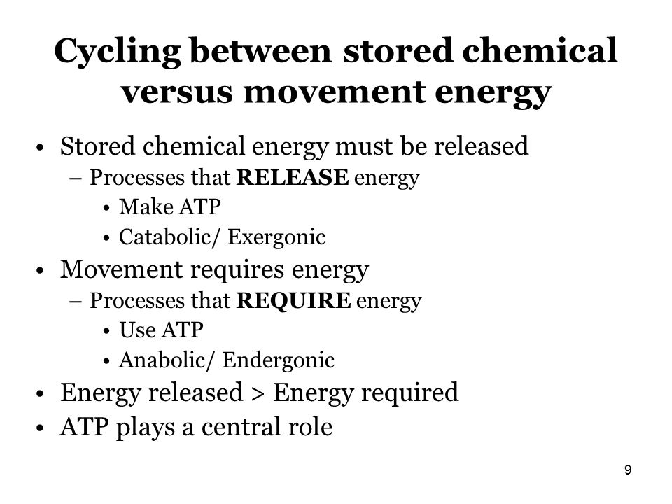 Cycling between stored chemical versus movement energy Stored chemical energy must be released –Processes that RELEASE energy Make ATP Catabolic/ Exer