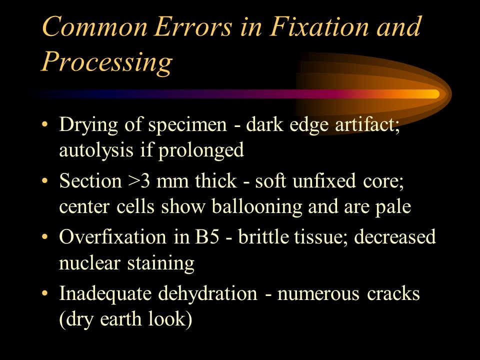 Common Errors in Fixation and Processing Drying of specimen - dark edge artifact; autolysis if prolonged Section >3 mm thick - soft unfixed core; cent