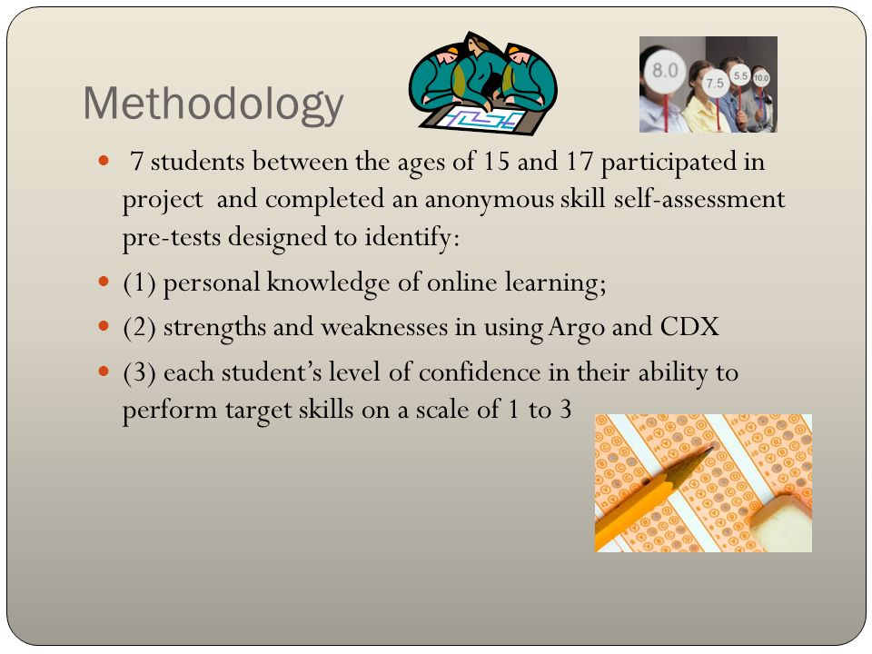 Methodology 7 students between the ages of 15 and 17 participated in project and completed an anonymous skill self-assessment pre-tests designed to id