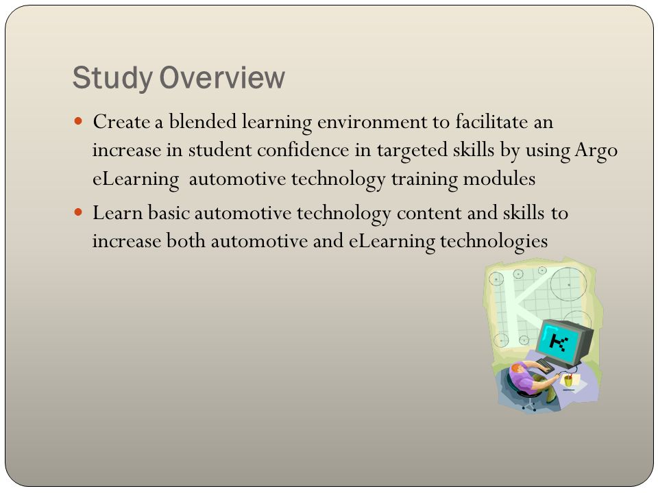 Study Overview Create a blended learning environment to facilitate an increase in student confidence in targeted skills by using Argo eLearning automotive technology training modules Learn basic automotive technology content and skills to increase both automotive and eLearning technologies