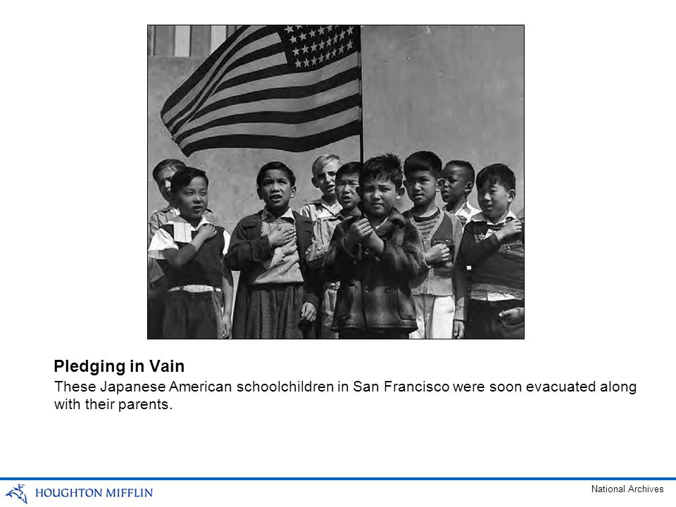 These Japanese American schoolchildren in San Francisco were soon evacuated along with their parents. Pledging in Vain National Archives