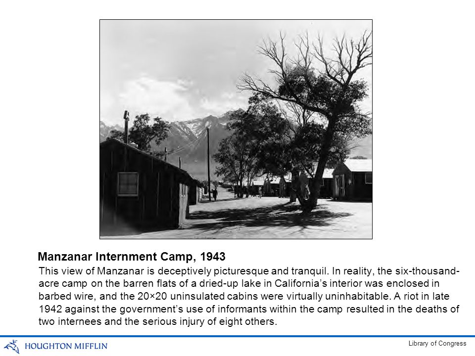This view of Manzanar is deceptively picturesque and tranquil. In reality, the six-thousand- acre camp on the barren flats of a dried-up lake in Calif