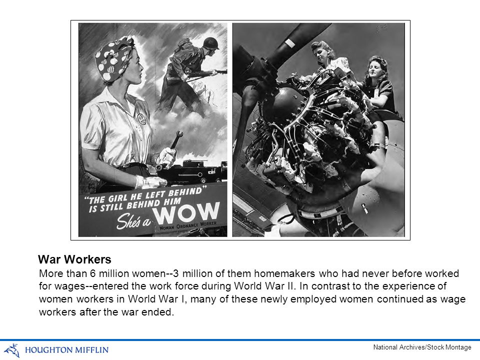 More than 6 million women--3 million of them homemakers who had never before worked for wages--entered the work force during World War II. In contrast