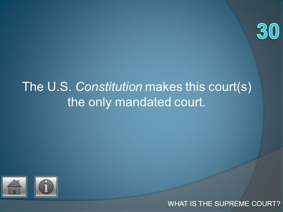 The U.S. Constitution makes this court(s) the only mandated court. WHAT IS THE SUPREME COURT?