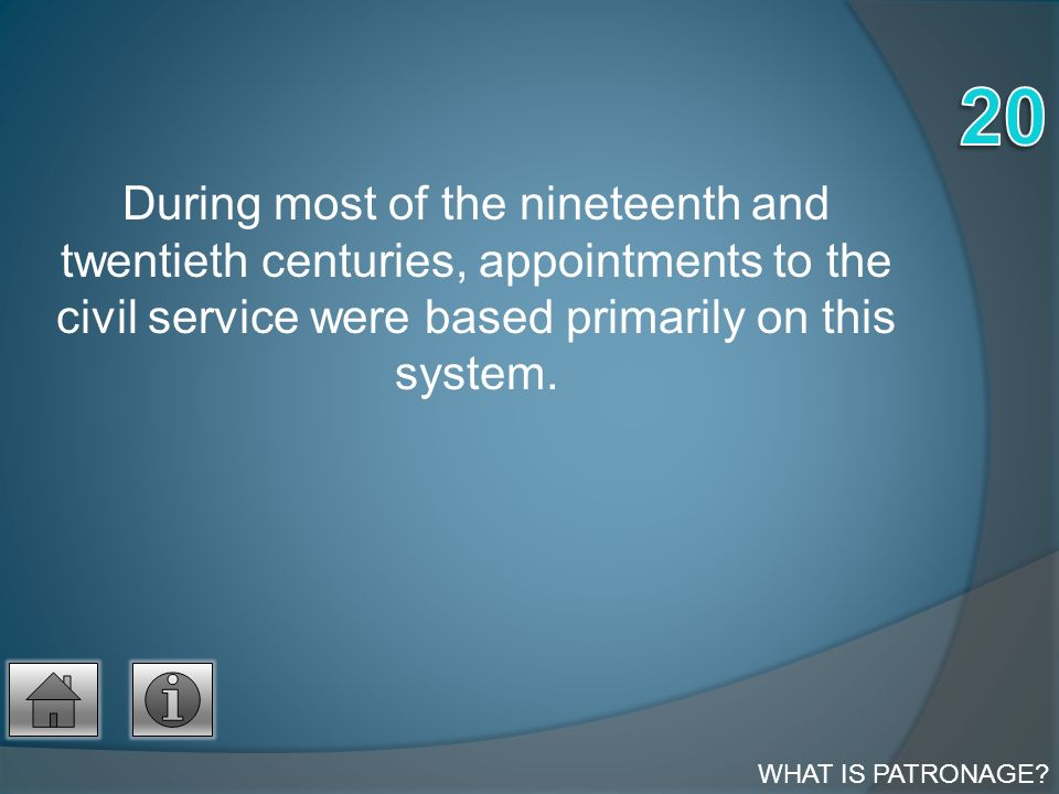 During most of the nineteenth and twentieth centuries, appointments to the civil service were based primarily on this system.