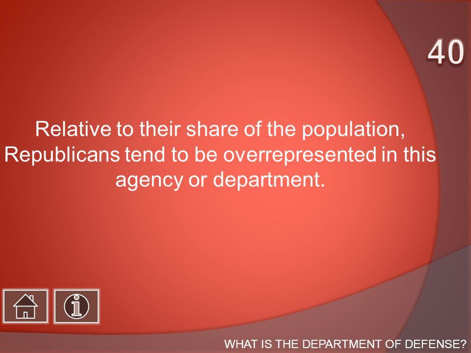 Relative to their share of the population, Republicans tend to be overrepresented in this agency or department.