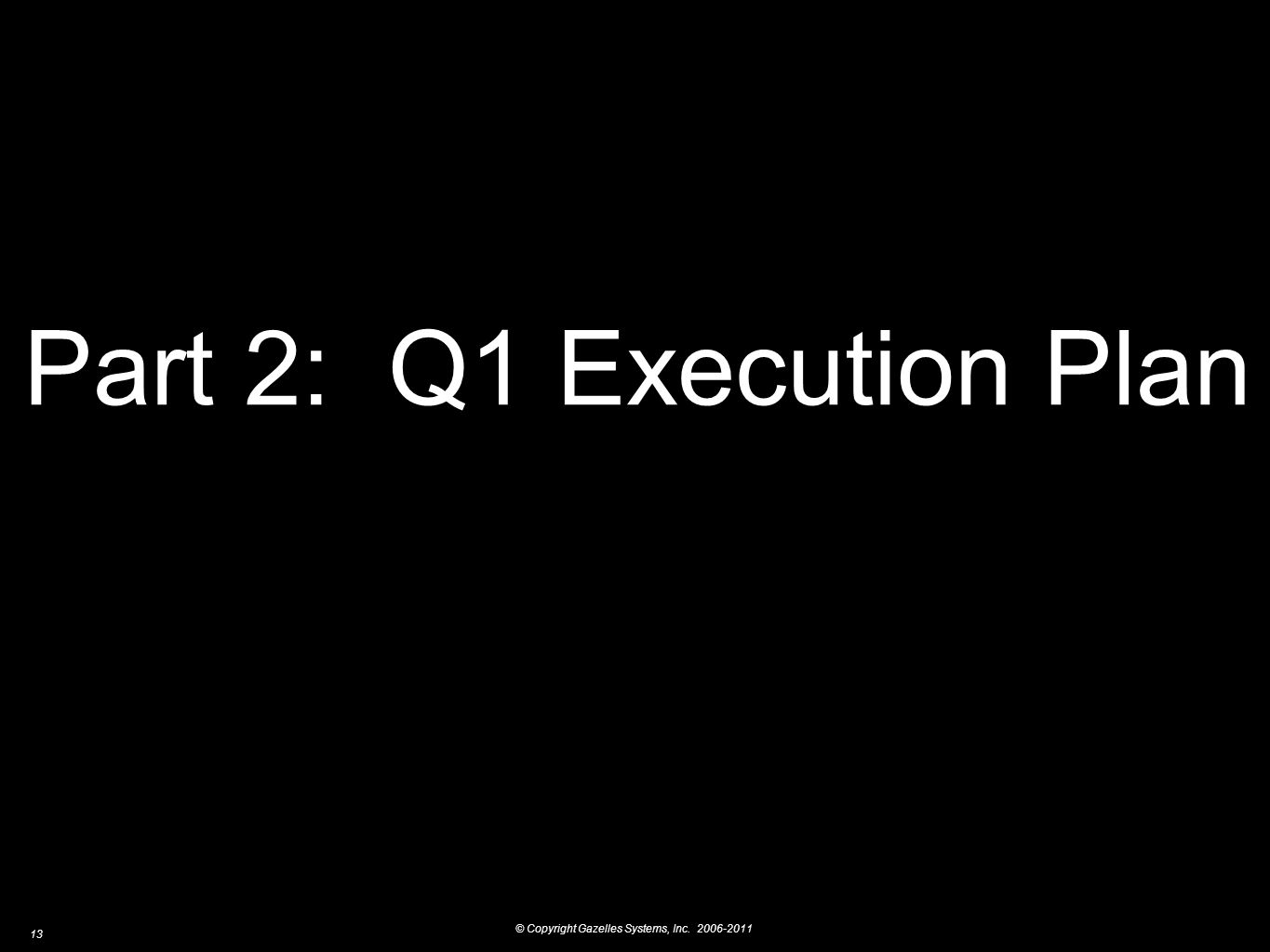 © Copyright Gazelles Systems, Inc. 2006-2011 13 Part 2: Q1 Execution Plan