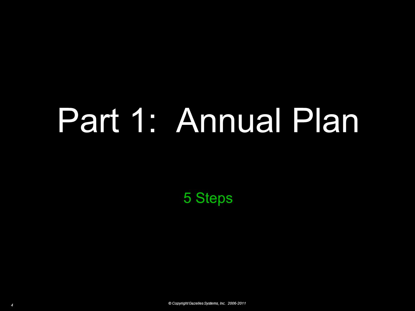 © Copyright Gazelles Systems, Inc. 2006-2011 4 Part 1: Annual Plan 5 Steps