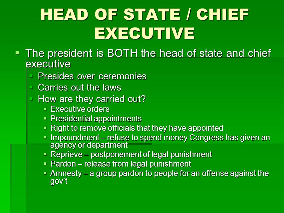 HEAD OF STATE / CHIEF EXECUTIVE The president is BOTH the head of state and chief executive The president is BOTH the head of state and chief executive Presides over ceremonies Presides over ceremonies Carries out the laws Carries out the laws How are they carried out.