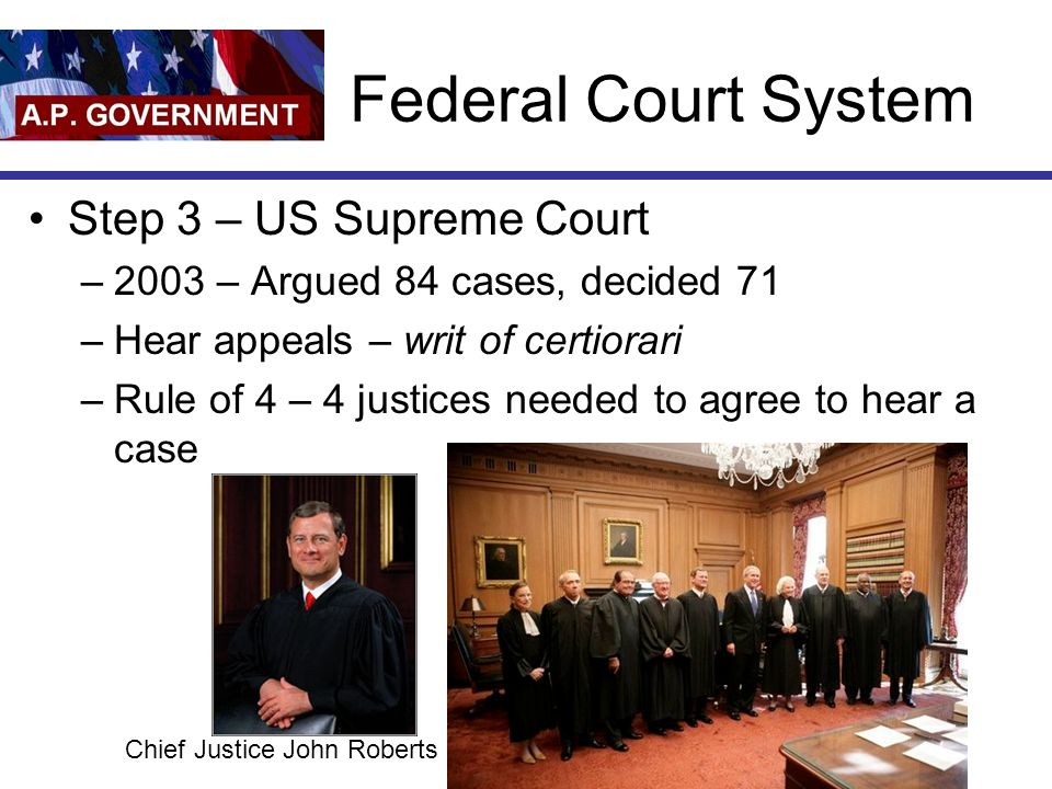Federal Court System Step 3 – US Supreme Court –2003 – Argued 84 cases, decided 71 –Hear appeals – writ of certiorari –Rule of 4 – 4 justices needed to agree to hear a case Chief Justice John Roberts