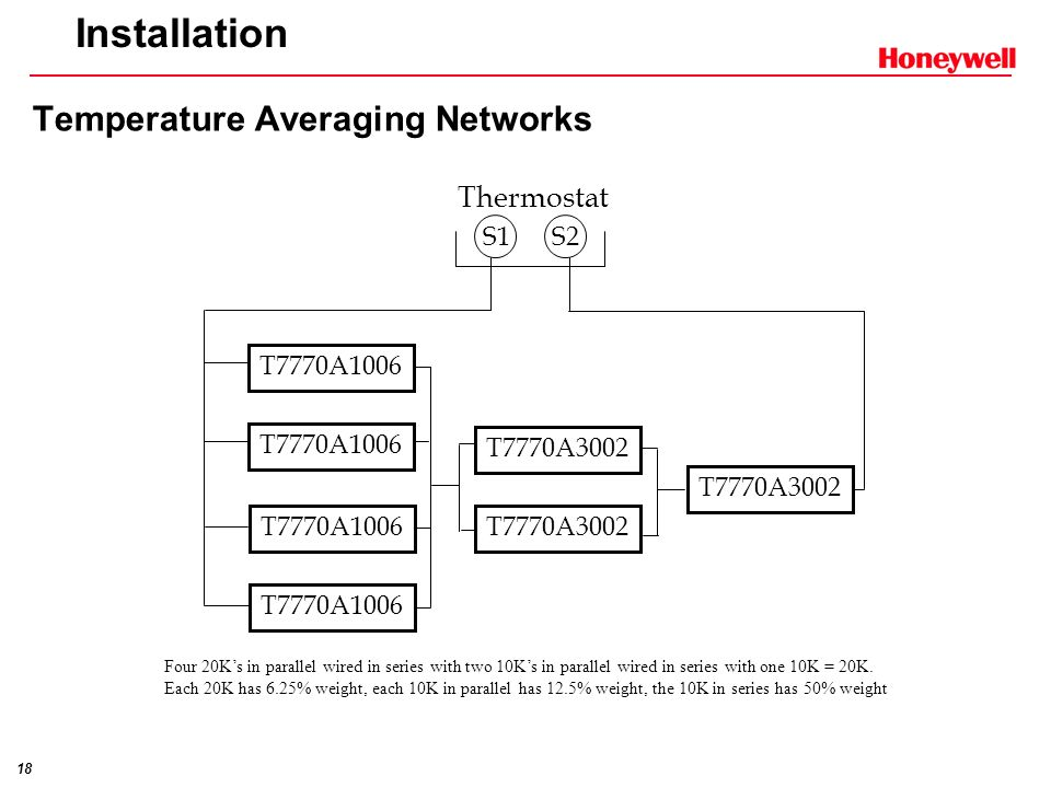 17 Installation Temperature Averaging Networks S1 S2 Thermostat T7770A3002 T7770A1006 T7770A3002 T7770A1006 Four 10Ks in series-parallel wired in seri