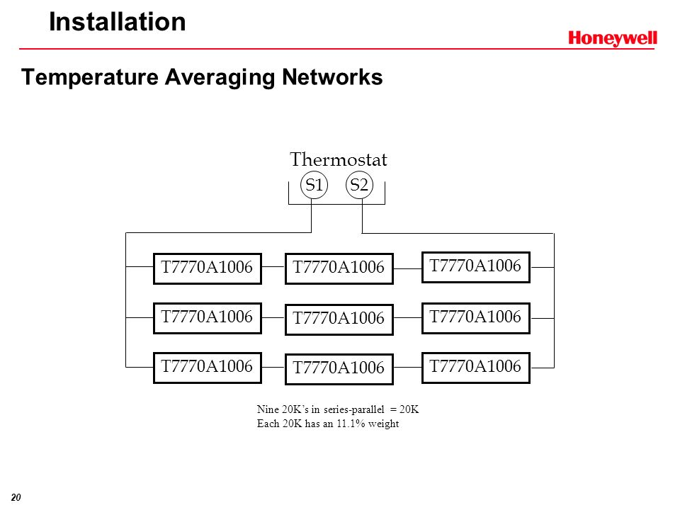 19 Installation Temperature Averaging Networks S1 S2 Thermostat T7770A1006 T7770A3002 T7770A1006 T7770A3002 T7770A1006 Four 20Ks in parallel wired in