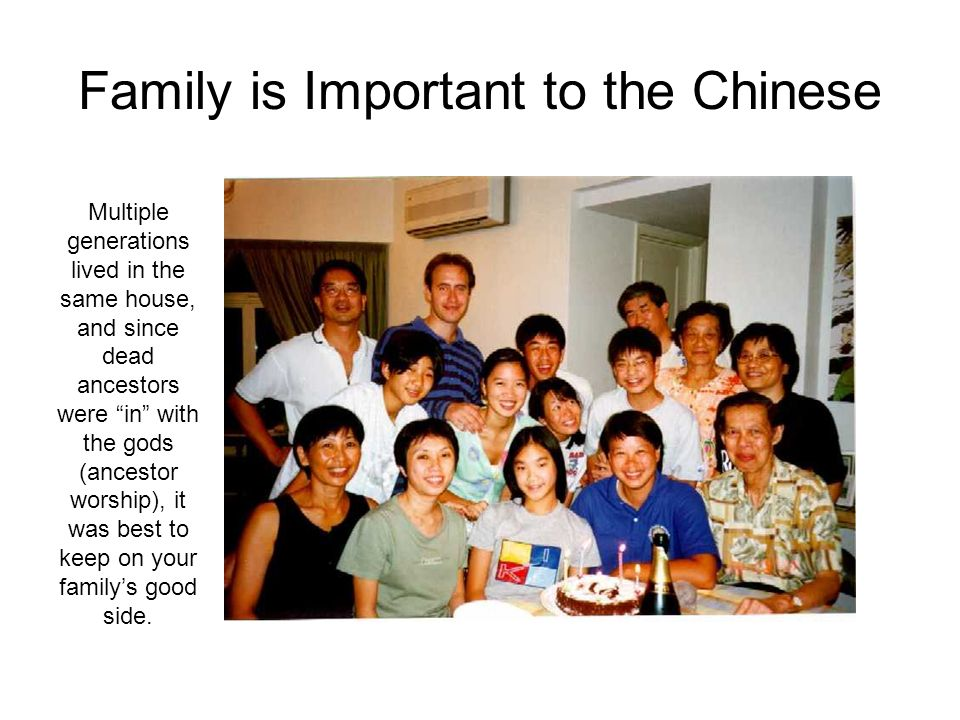 Family is Important to the Chinese Multiple generations lived in the same house, and since dead ancestors were in with the gods (ancestor worship), it