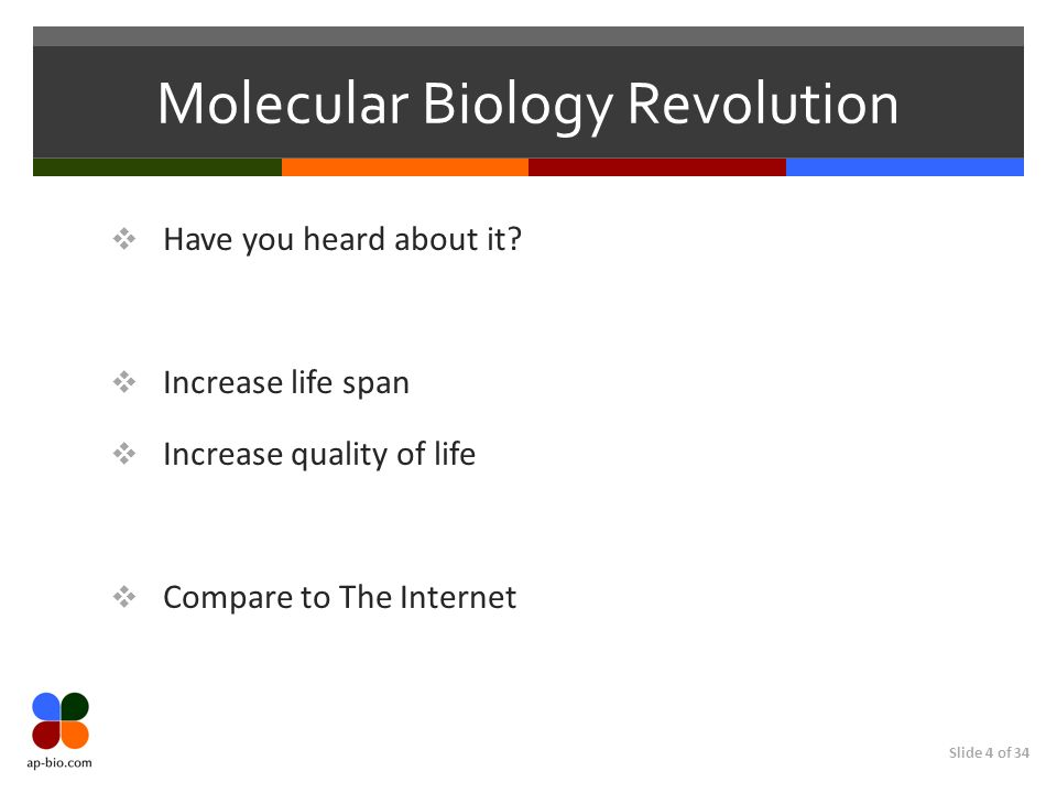 Slide 4 of 34 Molecular Biology Revolution Have you heard about it.
