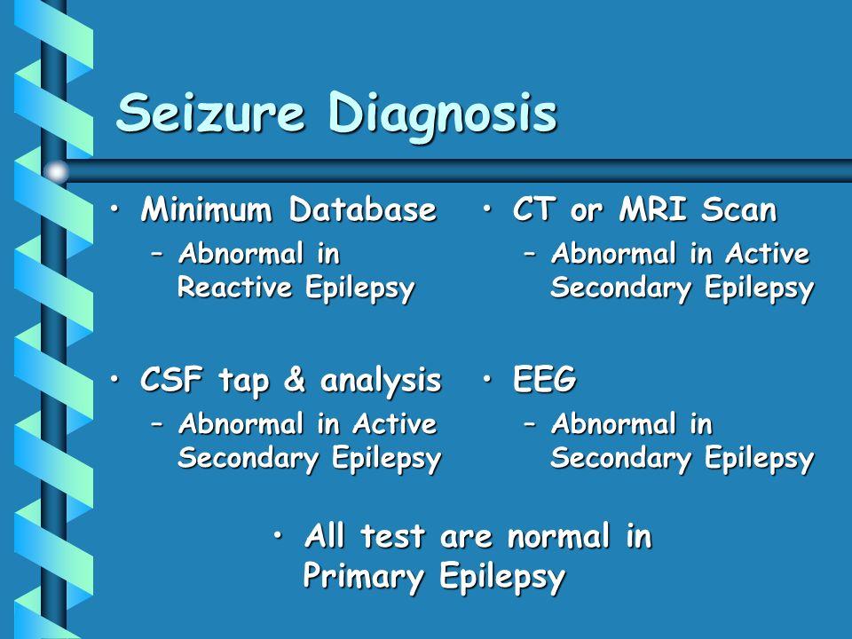 Seizure Diagnosis Minimum DatabaseMinimum Database –Abnormal in Reactive Epilepsy CSF tap & analysisCSF tap & analysis –Abnormal in Active Secondary Epilepsy CT or MRI Scan –Abnormal in Active Secondary Epilepsy EEG –Abnormal in Secondary Epilepsy All test are normal in Primary EpilepsyAll test are normal in Primary Epilepsy