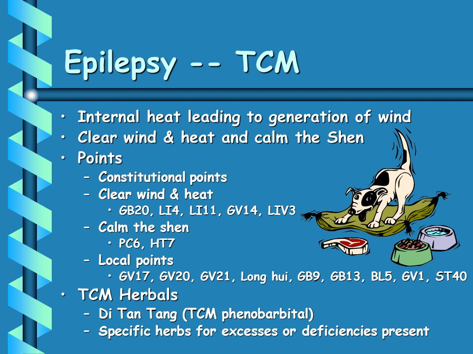 Epilepsy -- TCM Internal heat leading to generation of windInternal heat leading to generation of wind Clear wind & heat and calm the ShenClear wind & heat and calm the Shen PointsPoints –Constitutional points –Clear wind & heat GB20, LI4, LI11, GV14, LIV3GB20, LI4, LI11, GV14, LIV3 –Calm the shen PC6, HT7PC6, HT7 –Local points GV17, GV20, GV21, Long hui, GB9, GB13, BL5, GV1, ST40GV17, GV20, GV21, Long hui, GB9, GB13, BL5, GV1, ST40 TCM HerbalsTCM Herbals –Di Tan Tang (TCM phenobarbital) –Specific herbs for excesses or deficiencies present
