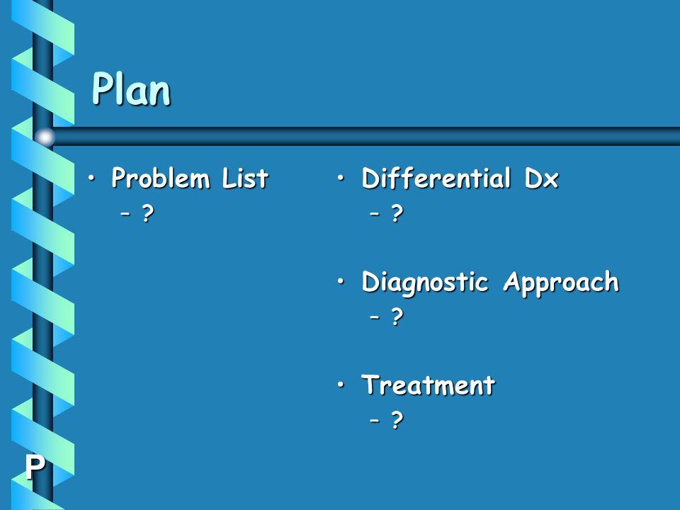 Plan P Problem ListProblem List –? Differential Dx –? Diagnostic Approach –? Treatment –?