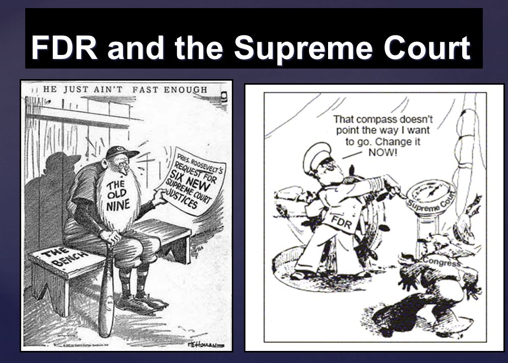 67 Court Packing…. The Supreme Court struck down several New Deal laws as unconstitutional (NRA and AAA) The Supreme Court struck down several New Dea