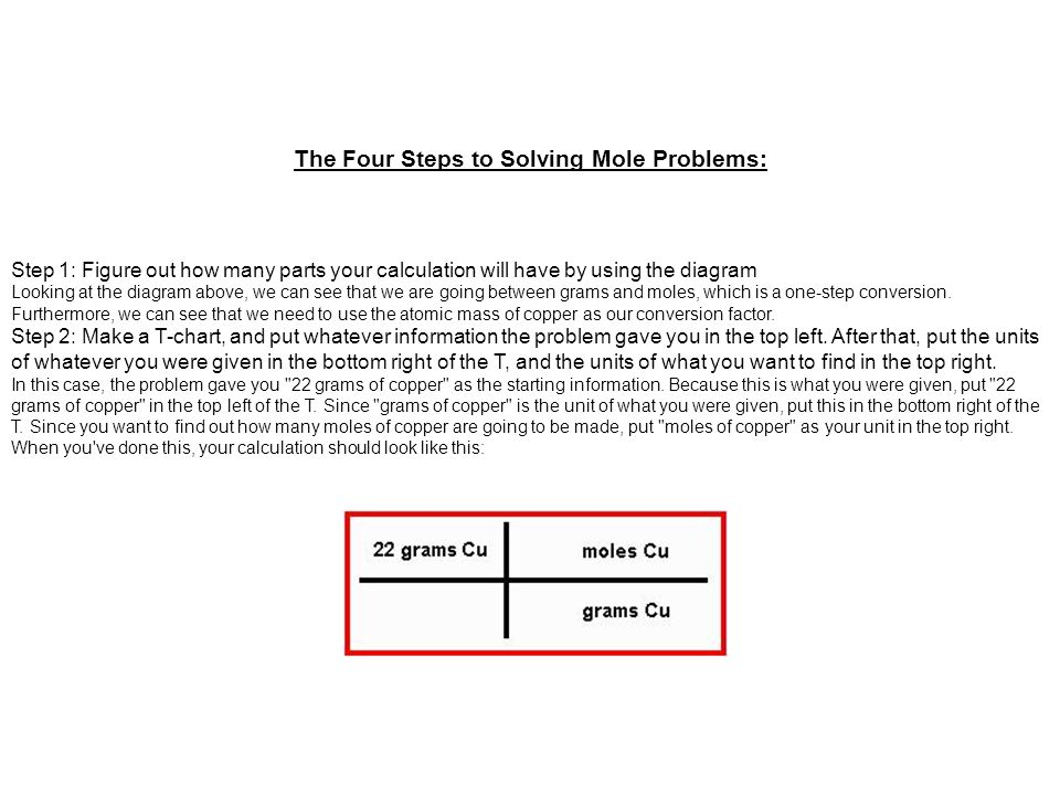 Step 3: Put the conversion factors into the T-chart in front of the units on the right.