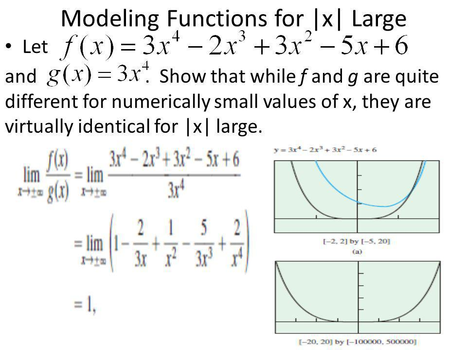 Modeling Functions for |x| Large Let and. Show that while f and g are quite different for numerically small values of x, they are virtually identical