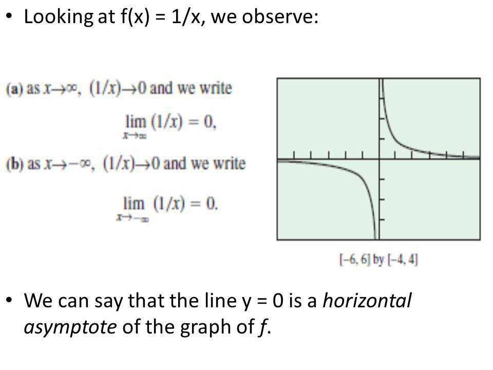 Looking at f(x) = 1/x, we observe: We can say that the line y = 0 is a horizontal asymptote of the graph of f.