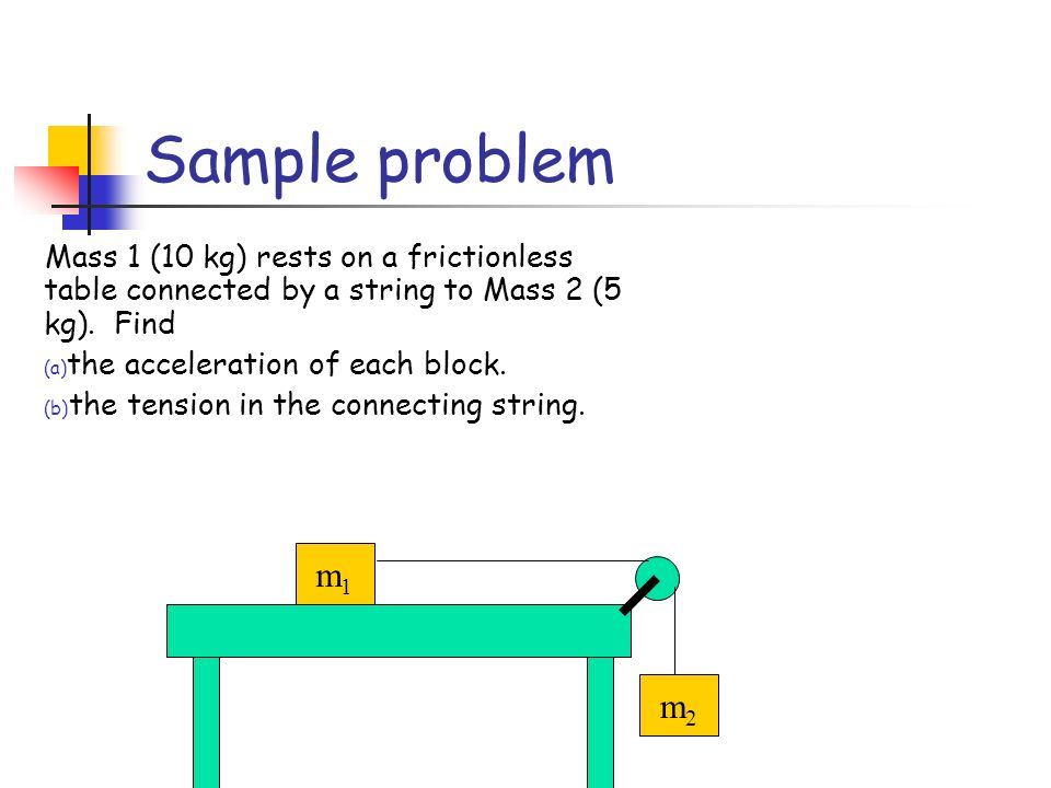 Mass 1 (10 kg) rests on a frictionless table connected by a string to Mass 2 (5 kg).