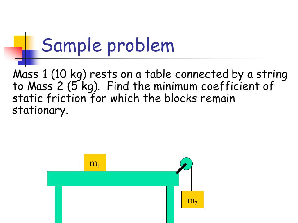 Mass 1 (10 kg) rests on a table connected by a string to Mass 2 (5 kg).