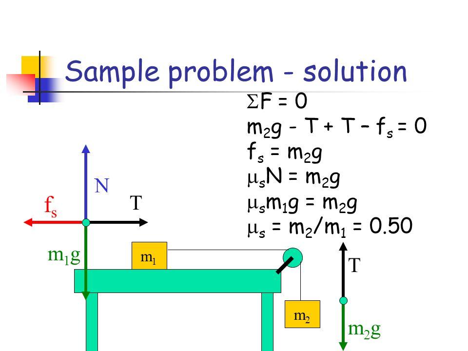 Sample problem - solution m1m1 m2m2 T m2gm2g N m1gm1g T fsfs F = 0 m 2 g - T + T – f s = 0 f s = m 2 g s N = m 2 g s m 1 g = m 2 g s = m 2 /m 1 = 0.50