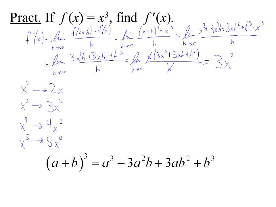 Pract. If f (x) = x 3, find f (x).