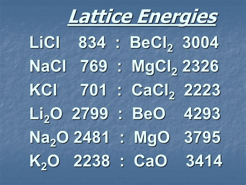 Lattice Energies LiCl 834 : BeCl 2 3004 NaCl 769 : MgCl 2 2326 KCl 701 : CaCl 2 2223 Li 2 O 2799 : BeO 4293 Na 2 O 2481 : MgO 3795 K 2 O 2238 : CaO 34