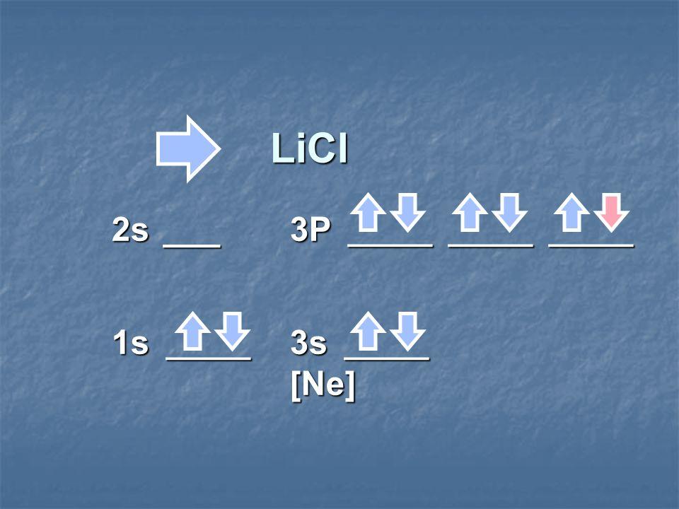 LiCl 2s ___3P _____ _____ _____ 1s _____ 3s _____ [Ne] LiCl 2s ___3P _____ _____ _____ 1s _____ 3s _____ [Ne]