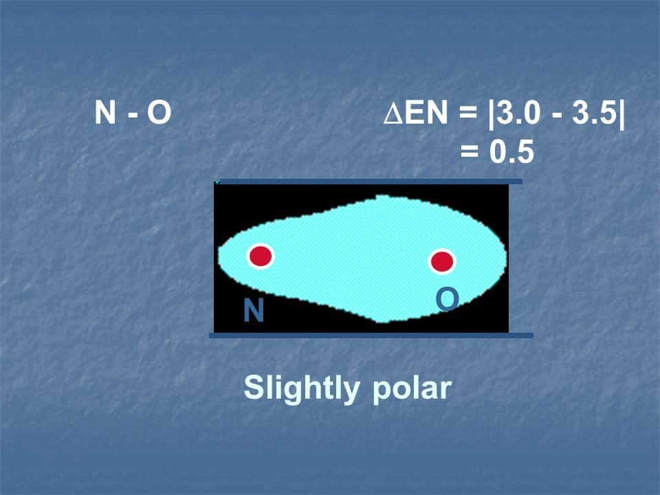 N - O EN = |3.0 - 3.5| = 0.5 Slightly polar N O