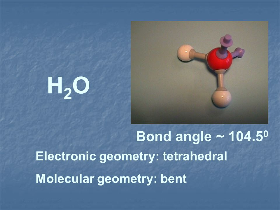 H2OH2O Electronic geometry: tetrahedral Molecular geometry: bent Bond angle ~ 104.5 0