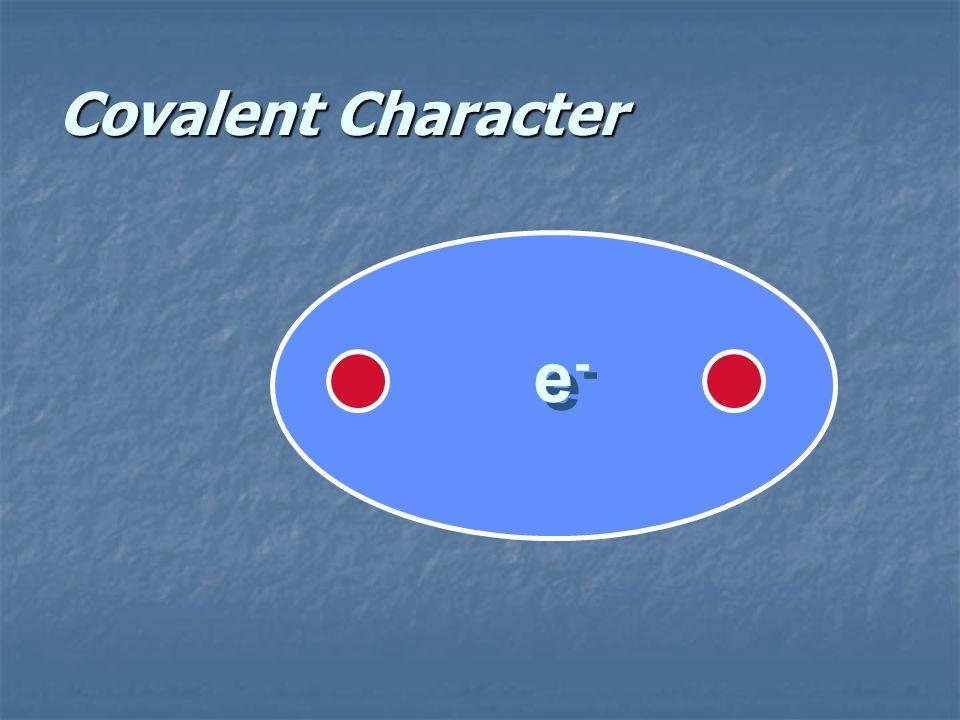 Bond Character Ionic Bond - Principally Ionic Character Covalent Bond - Principally Covalent Character