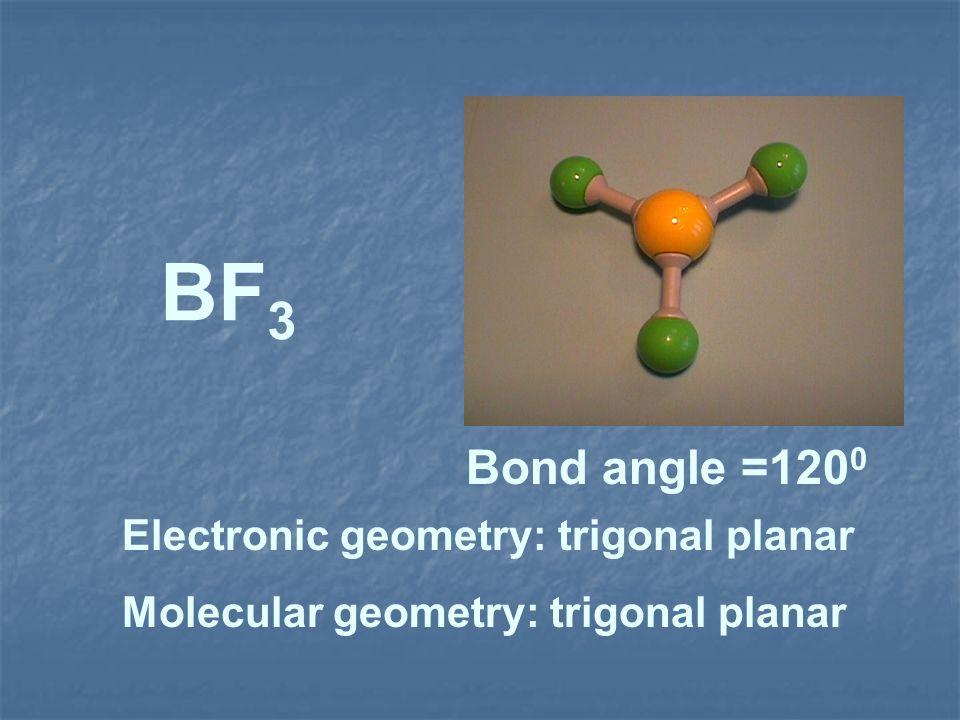 BF 3 Electronic geometry: trigonal planar Molecular geometry: trigonal planar Bond angle =120 0