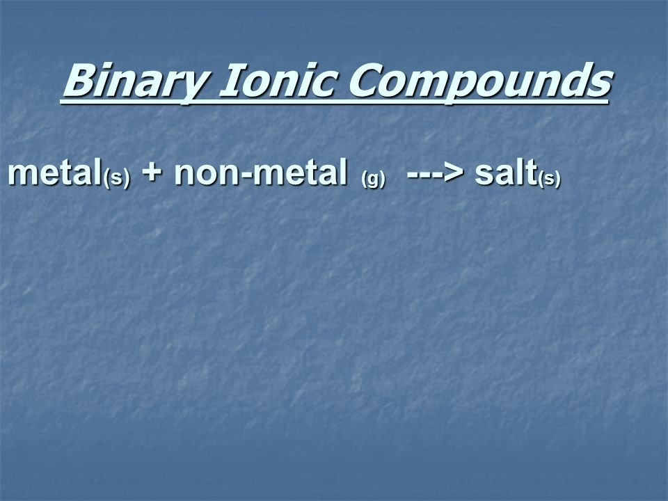 Binary Ionic Compounds metal (s) + non-metal (g) ---> salt (s)