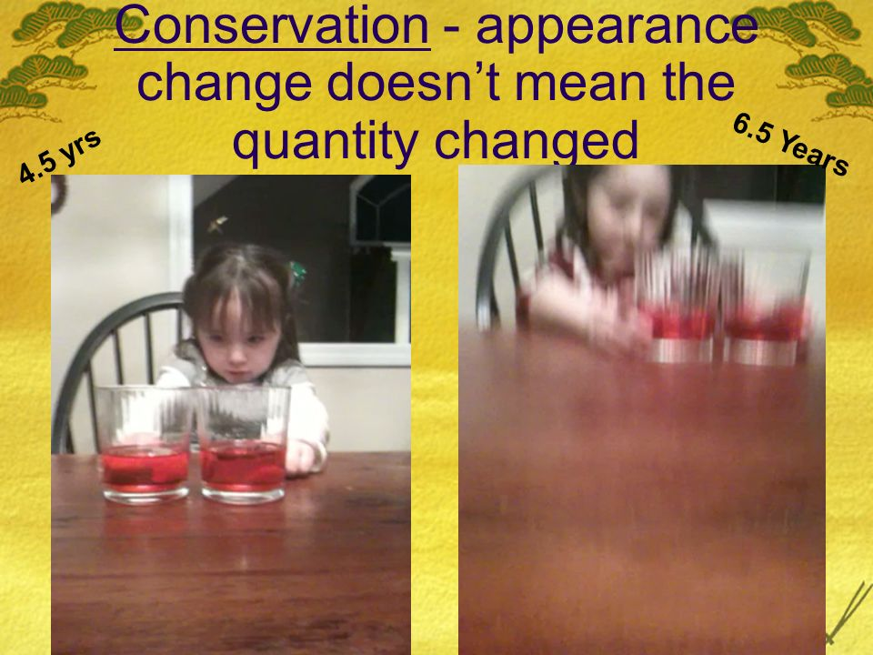 Conservation - appearance change doesnt mean the quantity changed 4.5 yrs 6.5 Years