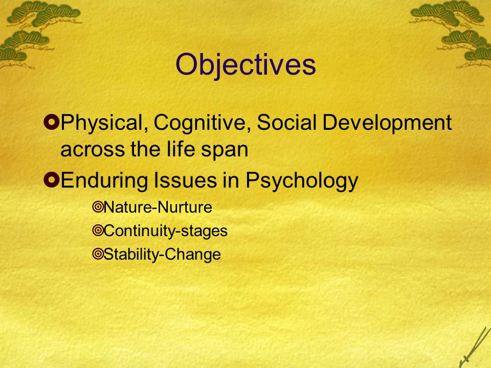 Objectives Physical, Cognitive, Social Development across the life span Enduring Issues in Psychology Nature-Nurture Continuity-stages Stability-Chang