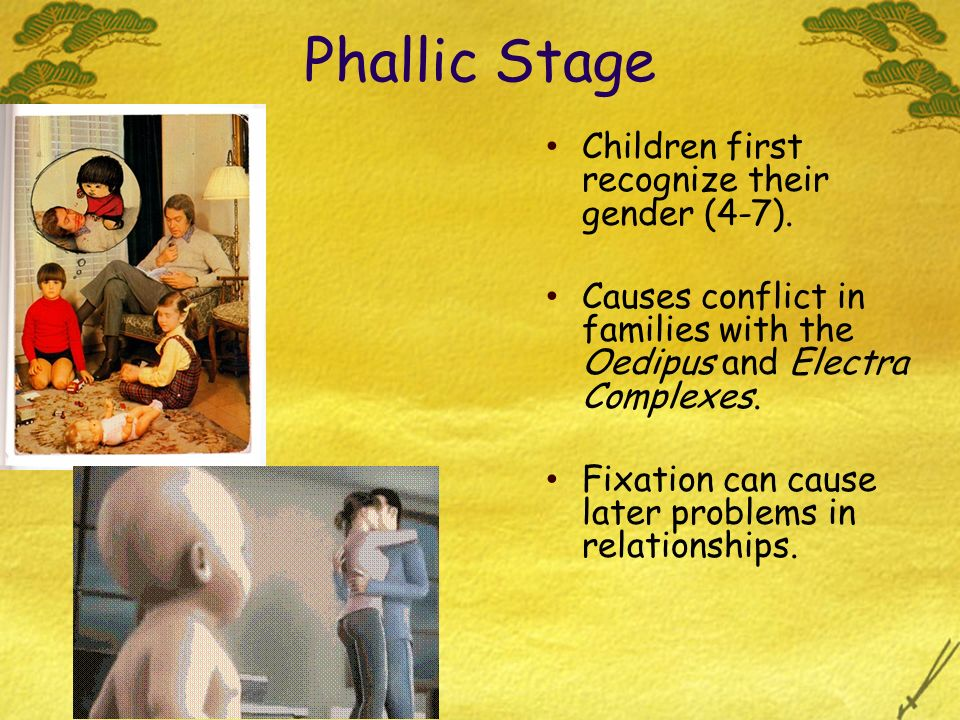 Phallic Stage Children first recognize their gender (4-7). Causes conflict in families with the Oedipus and Electra Complexes. Fixation can cause late