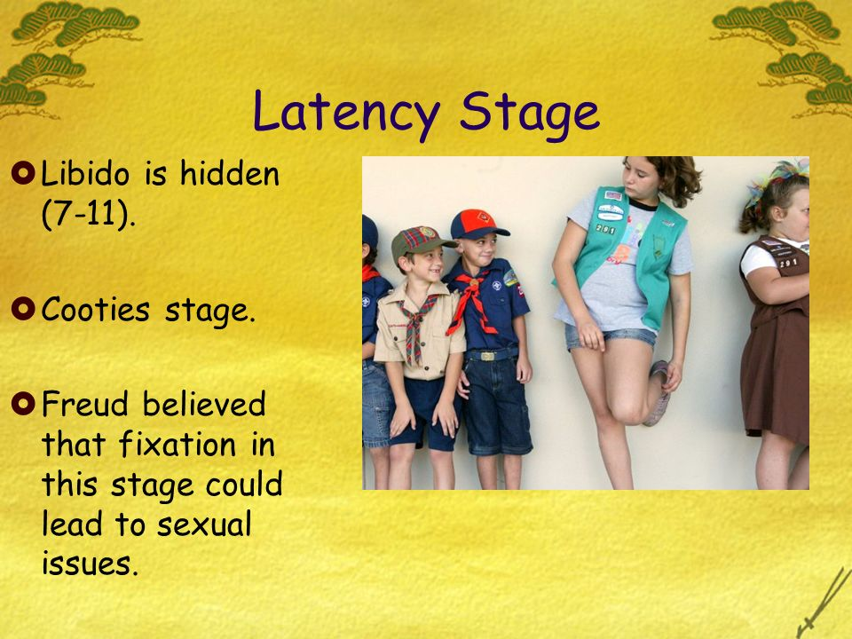 Latency Stage Libido is hidden (7-11). Cooties stage. Freud believed that fixation in this stage could lead to sexual issues.
