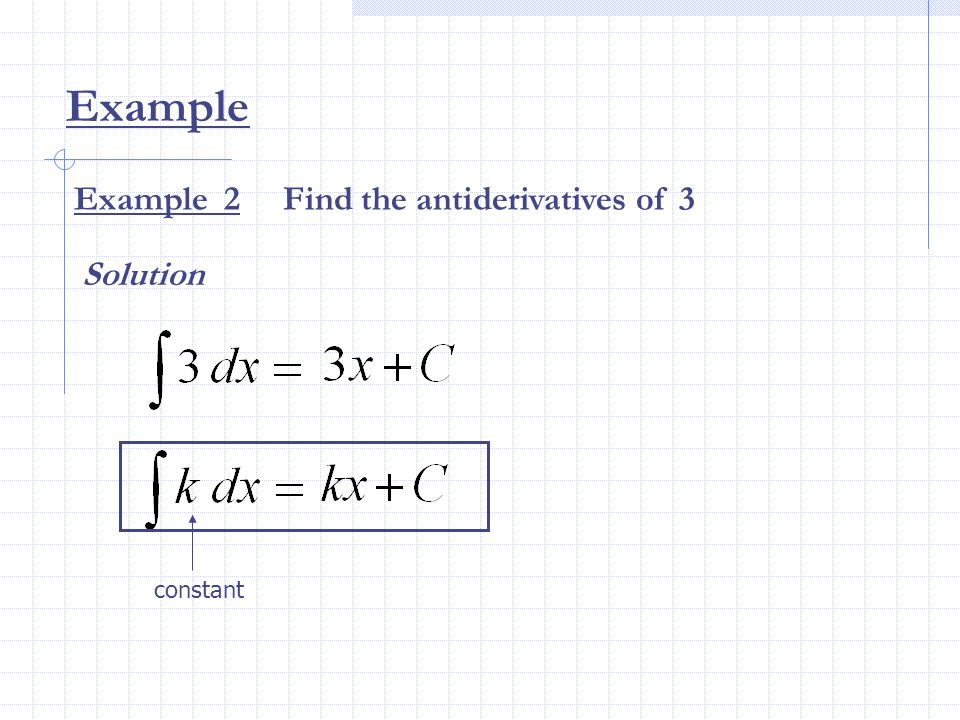 Example constant Example 2 Find the antiderivatives of 3 Solution