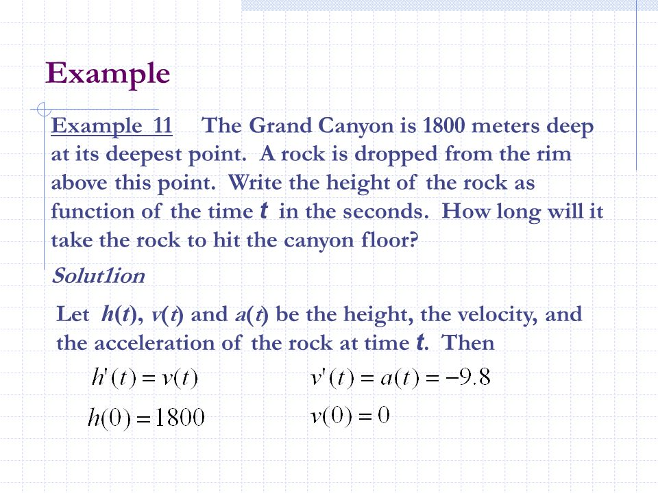 Example Example 11 The Grand Canyon is 1800 meters deep at its deepest point. A rock is dropped from the rim above this point. Write the height of the