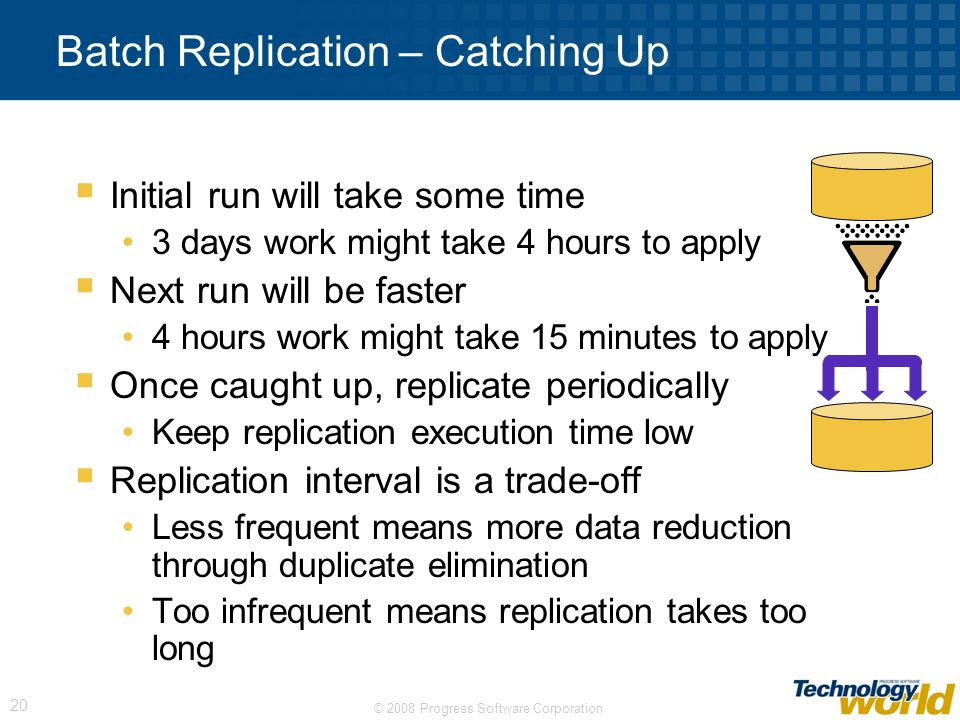 © 2008 Progress Software Corporation 20 Batch Replication – Catching Up Initial run will take some time 3 days work might take 4 hours to apply Next r