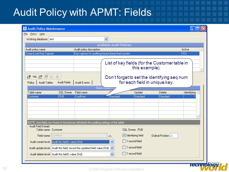© 2008 Progress Software Corporation 30 Audit Policy with APMT: Fields List of key fields (for the Customer table in this example). Dont forget to set