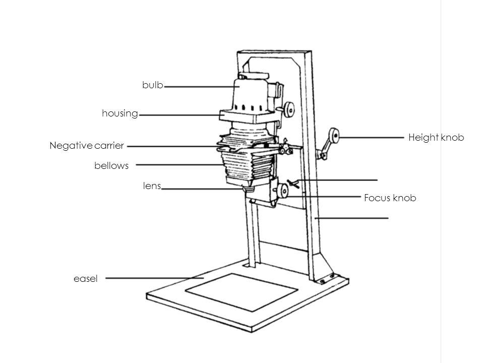 bulb housing Negative carrier bellows lens Height knob Focus knob easel