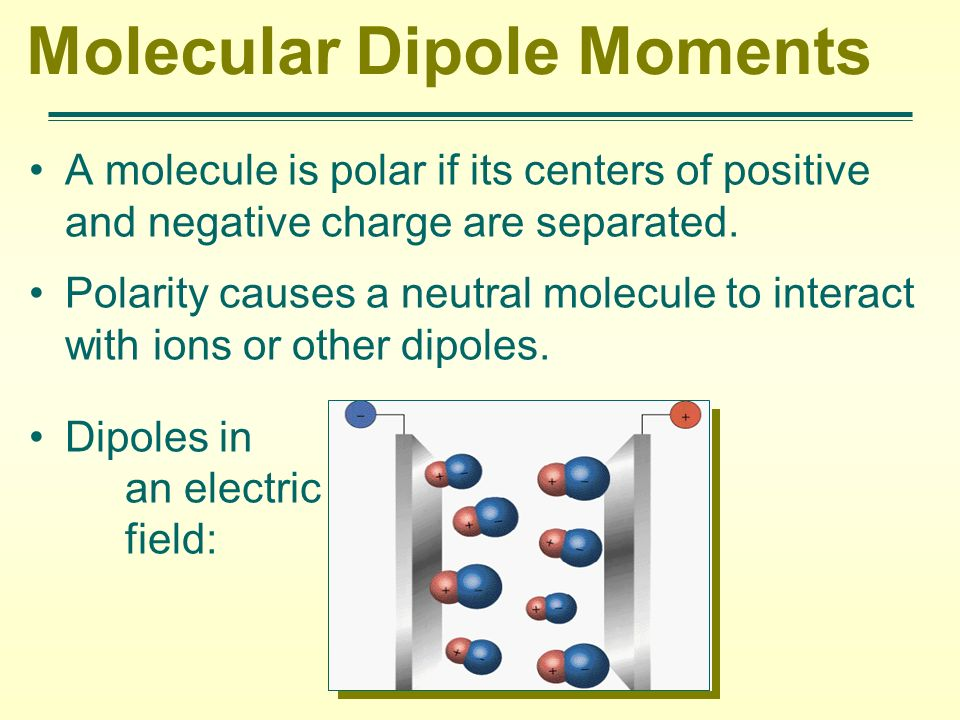 Molecular Dipole Moments A molecule is polar if its centers of positive and negative charge are separated. Polarity causes a neutral molecule to inter