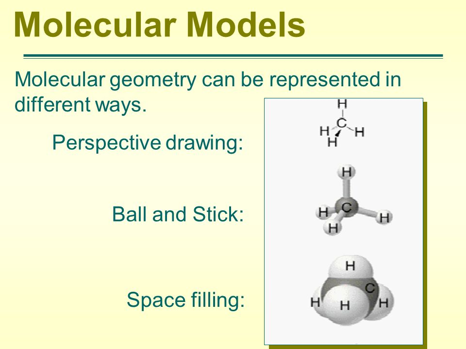 Molecular Models Molecular geometry can be represented in different ways. Perspective drawing: Ball and Stick: Space filling: