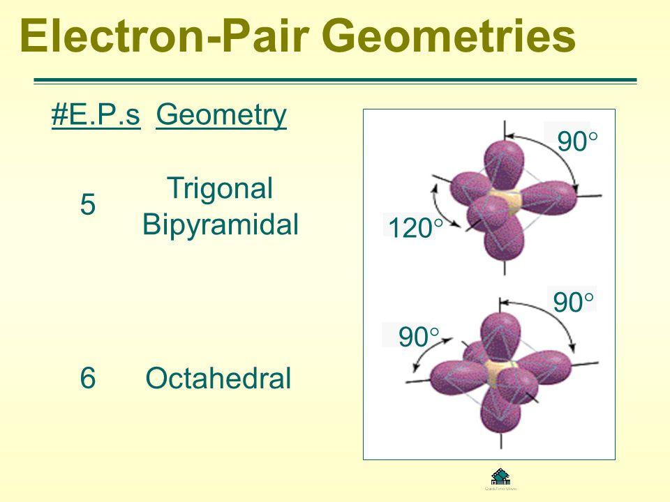Electron-Pair Geometries #E.P.s Geometry 5 Trigonal Bipyramidal 6 Octahedral 90 120