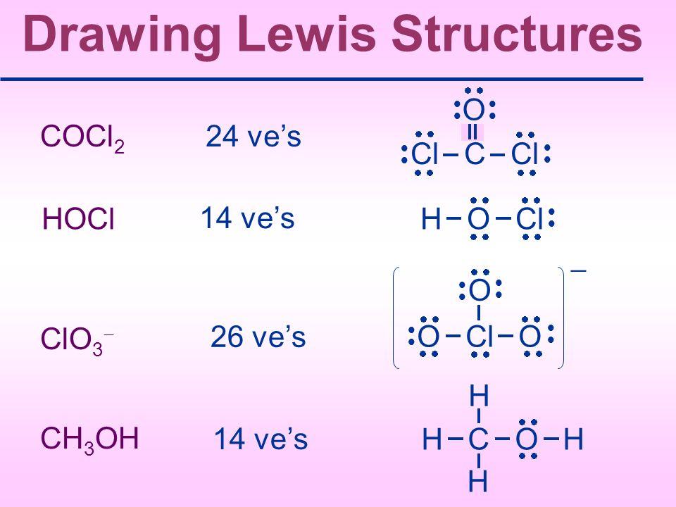 Drawing Lewis Structures COCl 2 24 ves HOCl 14 ves ClO 3 26 ves CH 3 OH 14 ves Cl C Cl O H O Cl O Cl O O H C O H H H