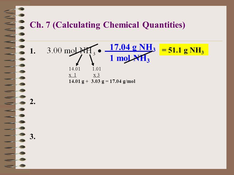 1. Convert 3.00 moles of ammonia, NH 3, to grams of ammonia. 1 mole NH 3 = 17.04 g NH 3 Conversion factor: 3.00 mol NH 3 x= g NH 3 mol NH 3 g NH 3 NH